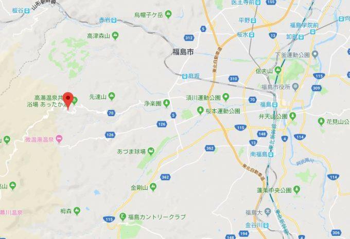 福島県/高湯温泉 地図